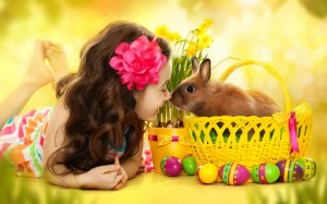 Beautiful Child Girl And Rabbit Wallpaper