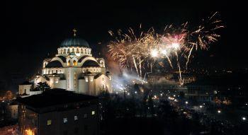 Docek srpske nove godine vatromet hram sv Save Beograd. 13.01.2016. foto: Igor Marinkovic