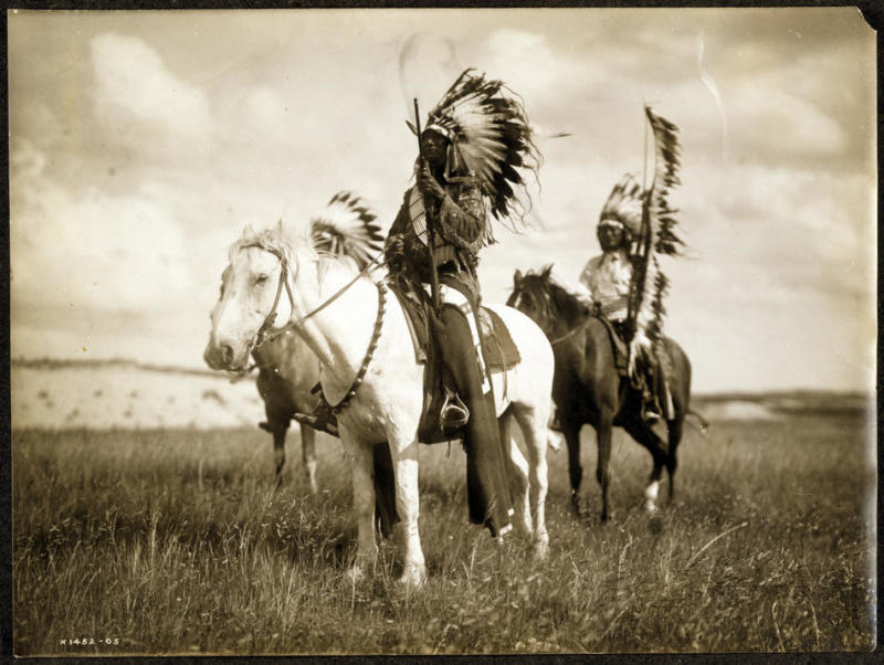 Title: Sioux chiefs.   Date Created/Published: c1905.   Summary: Photograph shows three Native Americans on horseback.   Photograph by Edward S. Curtis, Curtis (Edward S.) Collection, Library of Congress Prints and Photographs Division Washington, D.C.