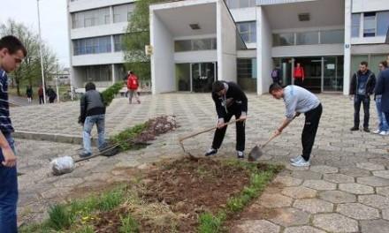 Radovi na uređenju zelenih površina ispred ETF-a