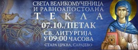 Stara pravoslavna crkva 7. oktobra slavi praznik Svete prvomučenice Tekle