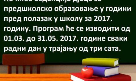 Osnovna škola P.P.Njegoš I.Ilidža: Počinje evidencija djece za predškolsko obrazovanje
