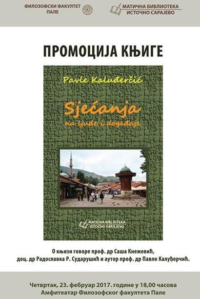 """Matična biblioteka organizuje promociju knjige """"Sjećanja na lјude i događaje"""" Pavla Kaluđerčića"""