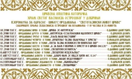 Vjeronauka za odrasle pri hramu Svetog Vasilija Ostroškog na Velјinama