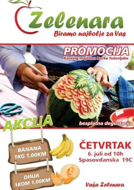 """Pozivamo vas na besplatnu degustaciju rezbarenog voća """"karving""""majstora Borka Tuševljak"""